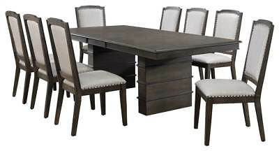9-Pc Dining Set in Gray and Brown [ID 3793271]