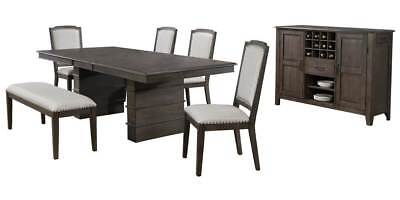 7-Pc Dining Set in Gray and Brown [ID 3793270]