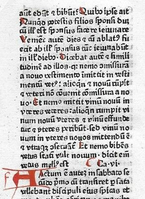 1 Leaf 1480 Incunabula Latin Medieval Bible 2 Red Initials + NT Textual Variant