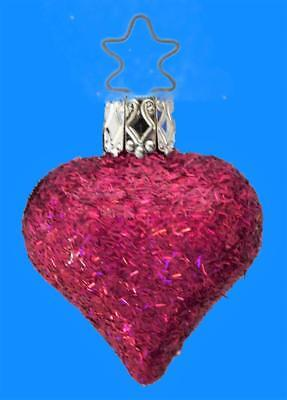 Mini Inge Glas Fuchsia Heart Christmas German Blown Glass Tree Ornament