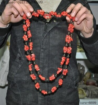 Tibet Red Coral naturally form irregular bead statue amulet Pendant necklace