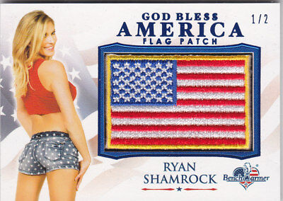 2017 Benchwarmer America The Beautiful Ryan Shamrock Blue Foil Flag Patch /2