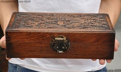 China dynasty Boxwood wood carving Loong Dragon statue Storage Box Jewelry boxes