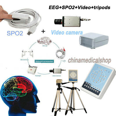 EEG Holter +SPO2+Video camera+2 tripods Mapping system 16 Channels free Software