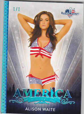 2017 Benchwarmer America The Beautiful Alison Waite Ice Blue Base Card /1 1/1
