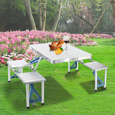 Folding Camping Table Picnic BBQ Outdoor Table W/4 Seat & Umbrella Hole