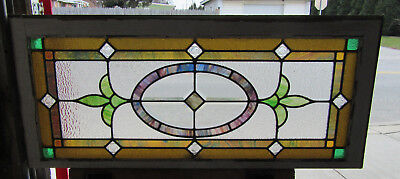 ~ Antique Stained Beveled Glass Transom Window ~ 8 Jewels ~ 44 X 19 ~ Salvage