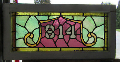 ~ Antique Stained Glass Transom Window Address 814 ~ 33.75 X 16.5 ~ Salvage