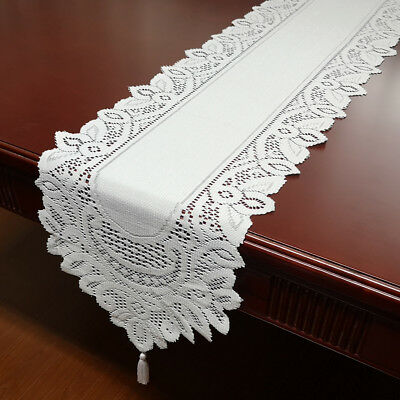 White Red Vintage Lace Table Runner Doily Wedding Valentines Day Cover 13x71inch