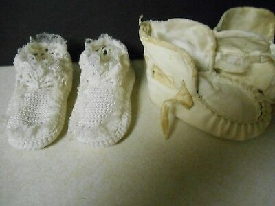 Antique Leather Baby Shoes and Crocheted Booties Doll Clothes Vintage