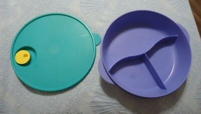 """TUPPERWARE Crystal Wave 10"""" (3-way) Divided Round Dish Blue Green Microwave Vent"""