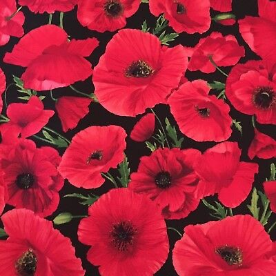 Poppy Flower Anzac Day Floral Print Sewing Quilting Fabric Cotton FQ