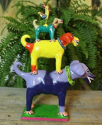 Tower of Dogs & Rooster! Handmade Ideal for Childs room! Mexican Folk Art Ortega
