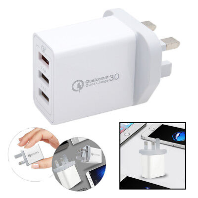 30W UK Plug 3Port Fast Qualcomm Quick Charge QC 3.0 USB Hub Wall Charger Adapter