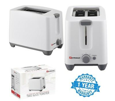 2 Wide Slice Slot Electric Toaster Biltz Fast Toast Browning Function White