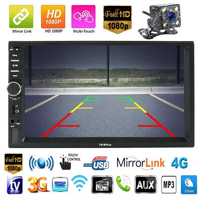 7'' Double Car Stereo 2 Din MP5 Radio Player Head Unit Radio Bluetooth Rear View