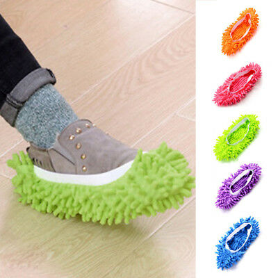 Microfibre Duster Shoe Sock Slippers Mop Dust Remover Cleaning Floor Polishers Q