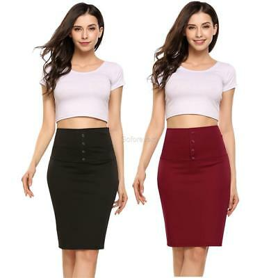 d265619507 Women High Waist Package Hip Front Button Pencil Skirt Knee Casual OL GFEQ