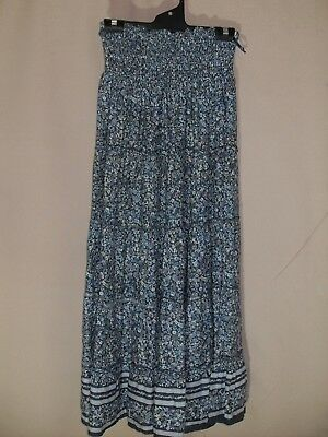 1990's Vintage Hippy Tiered Maxi skirt with Shirred Waist.