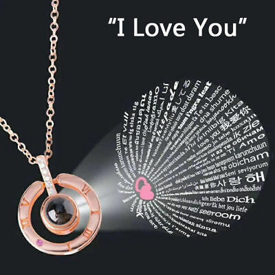100 Language Light Projection I Love You Heart Pendant Necklace Lover Gift