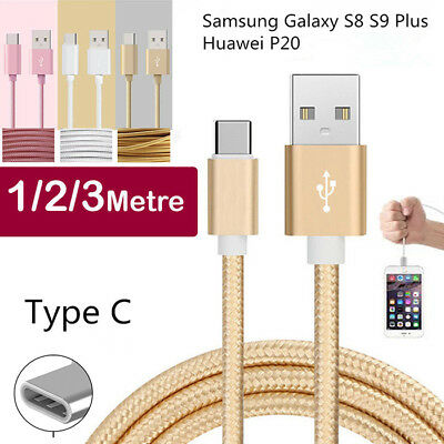 Fast Samsung Galaxy S8 S9 Plus Huawei P20 Type C Charger Charging Cable Sync USB