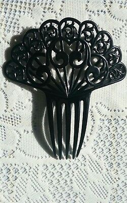 Black Antique Spanish/Spaniard Style Hair Comb Beautiful Design Large 6.5 Inches