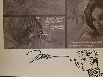 Signed Sketch Jim Lee Neil Gaiman 100 Words Print Aquaman Sandman Batman 606/750