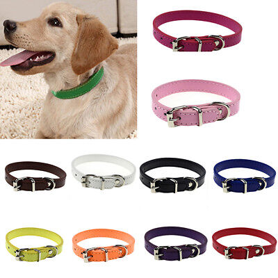 Faux Leather Solid Color Dog Pet Cat Puppy Collar Neck Buckle Adjustable Bling
