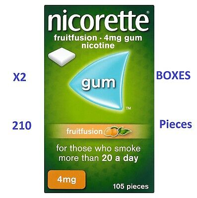 Two Boxes Nicorette Fruitfusion Flavour 4mg Sugar-Free Coated Gum - 210 Pieces