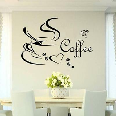 Coffee Cup Kitchen Removable Bedroom Vinyl Wall Sticker DIY Decal Home Decor TO