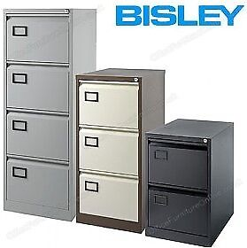 New -Bisley Contract Steel Filing Cabinets 4 Drawer Goose Grey AOC4.GG