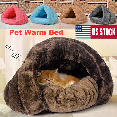 Pet Cat Dog Bunny House Kennel Puppy Plush Cave Sleeping Bed Warm Nest Mat Pad