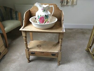 Antique Pine Wash Stand with Bowl and Jug