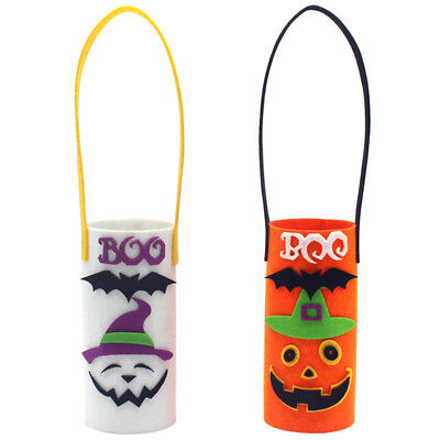 Halloween Non-Woven Wine Bottle Bag Candy Bag with Handle Halloween Party D6G2