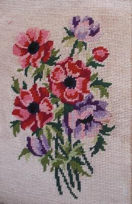 """Vintage completed cotton needlepoint anemones flowers on off-white 12.8""""x8.5"""""""