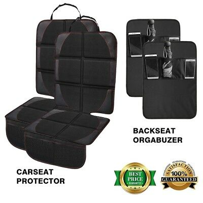 [2-Pack] Premium Leather Car Seat Covers Kick Mats for Baby &Infant Safety Seat