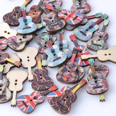 50 Pcs Mixed Wood Buttons 2 Holes Guitar Pattern Sewing Scrapbooking All Match w