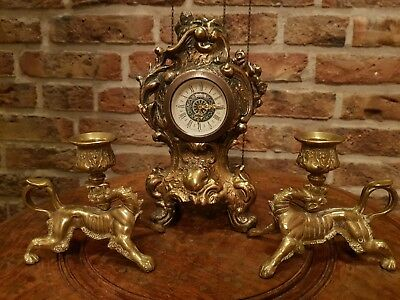 Antique German Mini Mantle Clock With 2 Lion Candelabra (Brass , Small Size)