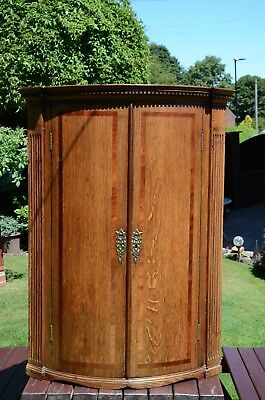 ANTIQUE GEORGIAN OAK BOWFRONTED CORNER CABINET (Reduced in price)