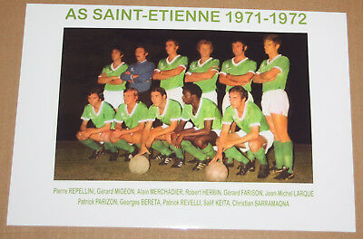 Football Photo Asse St Etienne Revelli Merchadier Championnat De France 1971-72