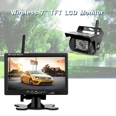 """Wireless Rear View Backup Camera Night Vision + 7"""" Monitor For RV Truck Bus"""