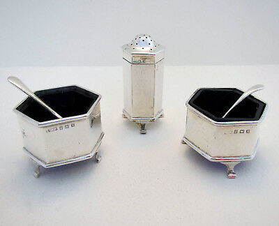 ART DECO 3-Piece Solid Sterling Silver Salt Cellar Pepper Pot Shaker Cruet Spoon