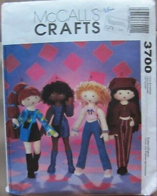 McCalls Crafts Pattern 3700 Funky Fashion 35cms (14inch) Dolls & Clothing NEW