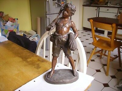 Antique spelter figure of agricultural worker dating from 1900 signed.