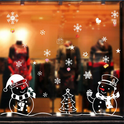 Shop Window Glass Background Decor Christmas Snowman and Tree Wall Sticker yN