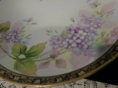 Vintage Hand Painted Nippon Cake Stand Plate Gold Gilt Lavender Green Pink