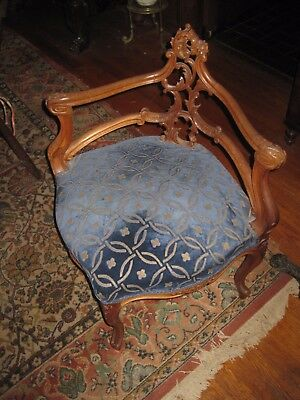 Antique French Hand Carved Walnut Corner Chair