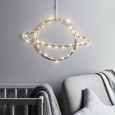 Planet Saturn Battery Children's Wall Silhouette Light 40 Warm White Micro LEDs