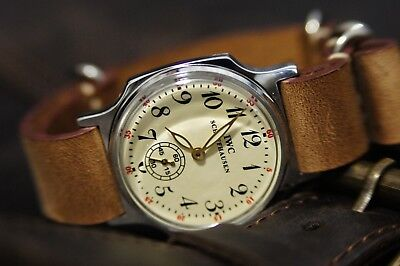 Pobeda IWC SCHAFFHAUSEN Watch, made in USSR, Mechanical Wrist Watch LeatherSTRAP
