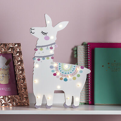 Battery Llama Children's Wall Night Light with Timer Warm White LEDs Lights4fun